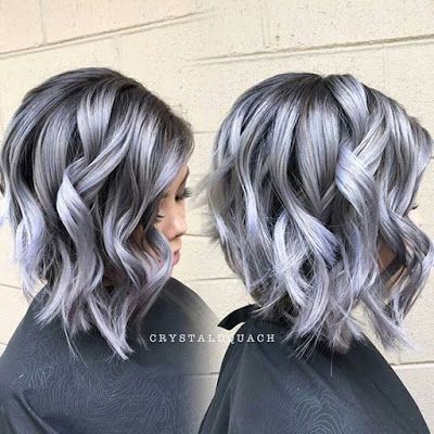 heavy layered gray hair  gray hair color ideas