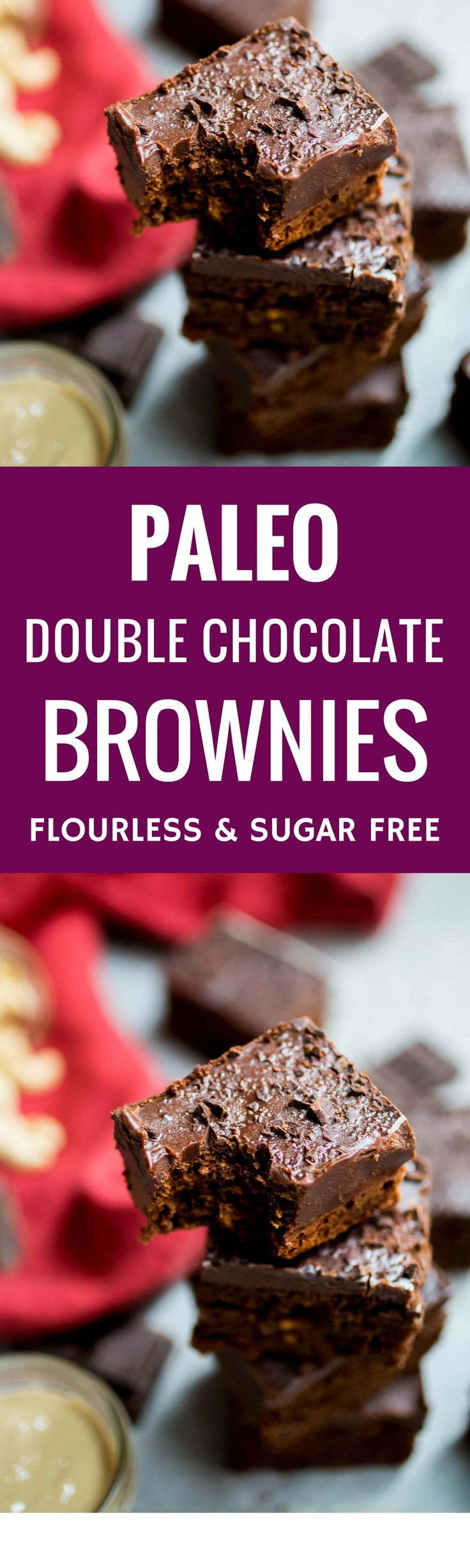 Flourless Double Chocolate Brownies Recipe. Easy and quick paleo brownie recipe. Healthy, gluten free, grain free, dairy free and vegan brownies. Sugar free chocolate dessert. Best paleo brownies. Vegan chocolate brownies. Fudgy paleo double chocolate brownies.
