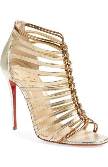 Christian Louboutin | 'Milla' Pump in Light Gold Leather available at #Nordstrom