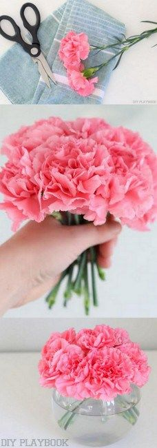 Make your carnations look much more high-end with these flower arranging tips. Love this step-by-step tutorial to cut and arrange inexpensive carnations.