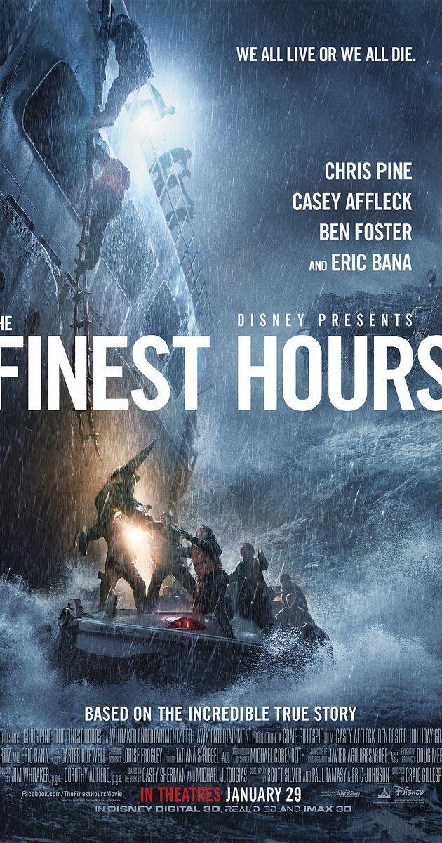 The Finest Hours (2016) The Coast Guard makes a daring rescue attempt off the coast of Cape Cod after a pair of oil tankers are destroyed during a blizzard in 1952.