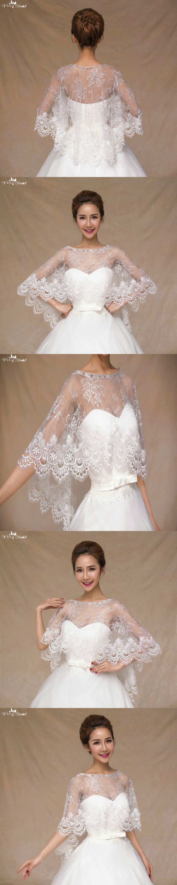 TA069 Applique Edge Soft Lace Rhinestone Shawl Cape Mariage Wedding Accessories