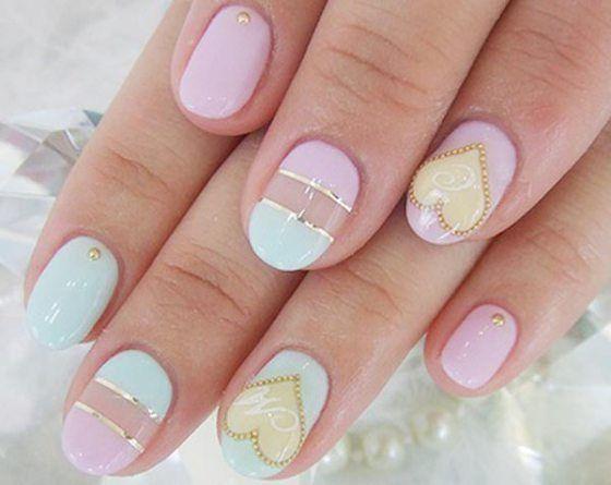 Heart Embellished Nail Design
