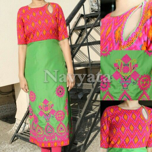 Fabric - Cotton and Polyester, Work - Ethnic Handwork and crochet in neck, For further details contact us on + 919892398900, + 919930413660