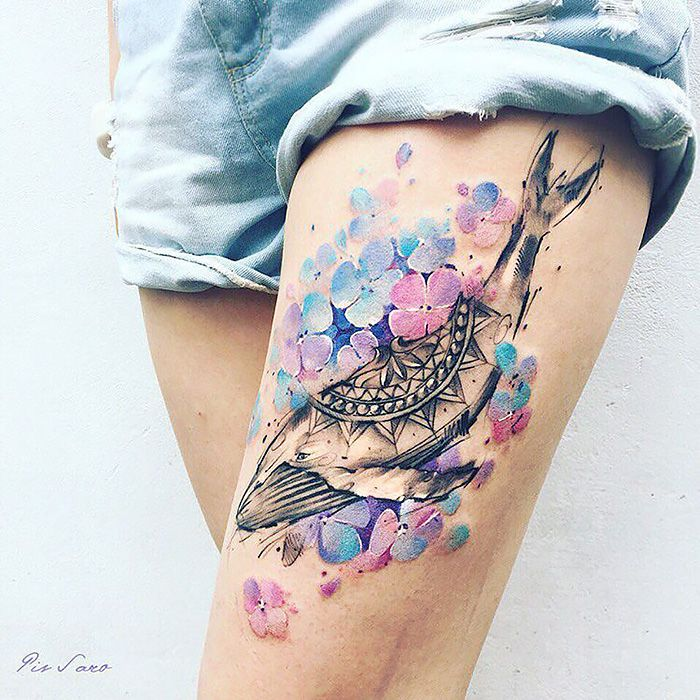 don't like the whale, but love the way they did the hydrangea  Ethereal Nature Tattoos Inspired By Changing Seasons