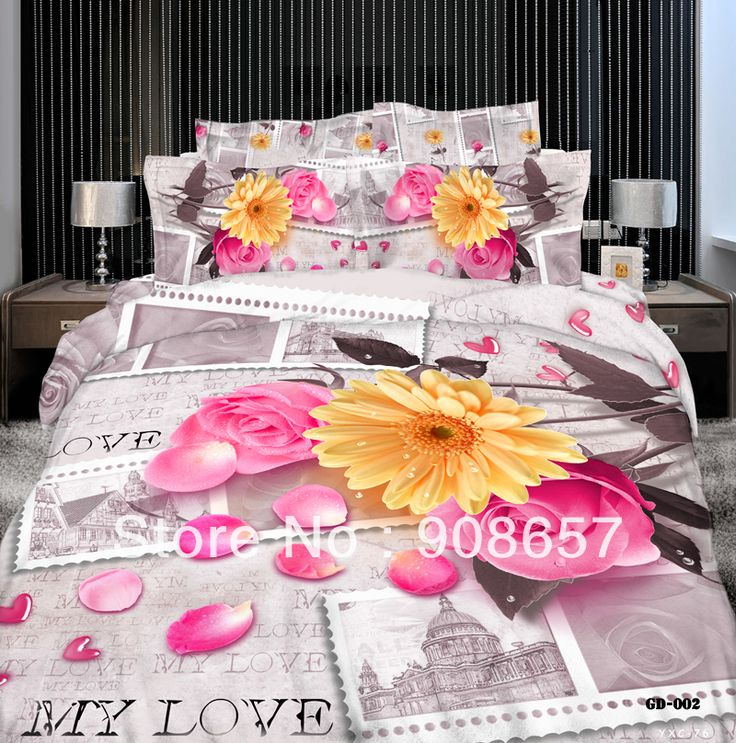 500TC розовая роза желтый дейзи цветок печатных девушки постельных принадлежностей 3D картина маслом постельное белье хлопок полный королева пододеяльники наборы 4 шт.
