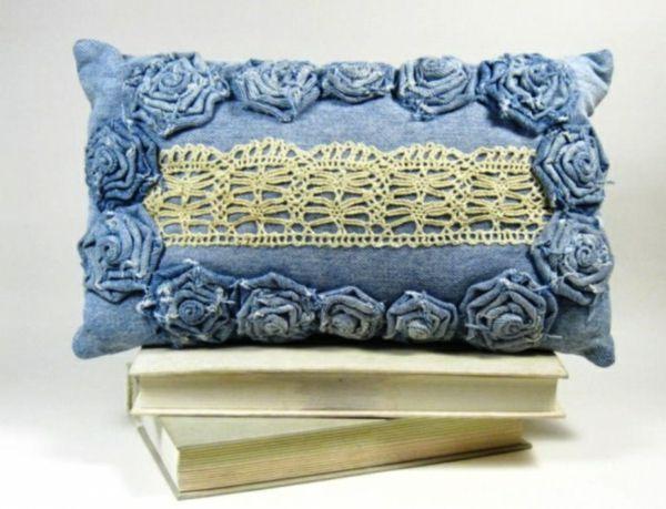vintage aus Jeans kissenbezüge klamotten spitze
