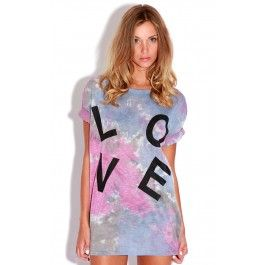 """Tie dye """"love"""" T-shirt roll sleeve detail  Tie dye adds a cool edge to any outfit & the autumnul colors make it a perfect statement piece for the transitional trends.  ♥ Roll sleeve t-shirt with embroidered 'LOVE' ♥ 95% Polyester 5% elastane ♥ Model wears: size 8, and is 5'8 ft tall"""