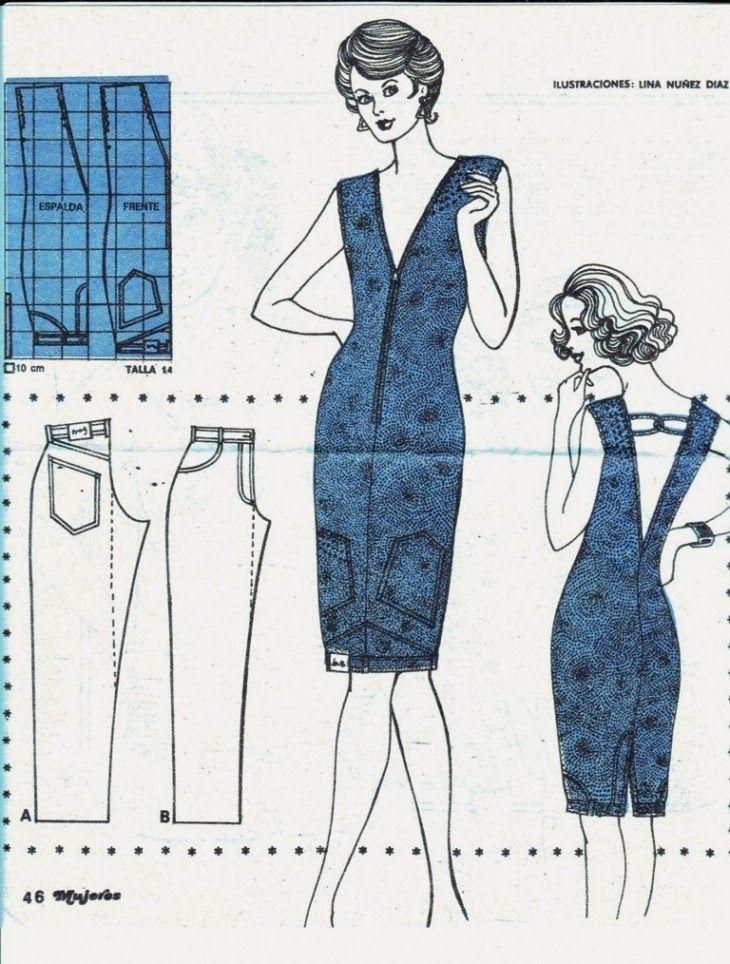 ILUSTRAÇÃO - TRANSFORMAÇÃO DE CALÇA EM VESTIDO. ~ Moda e Dicas de Costura
