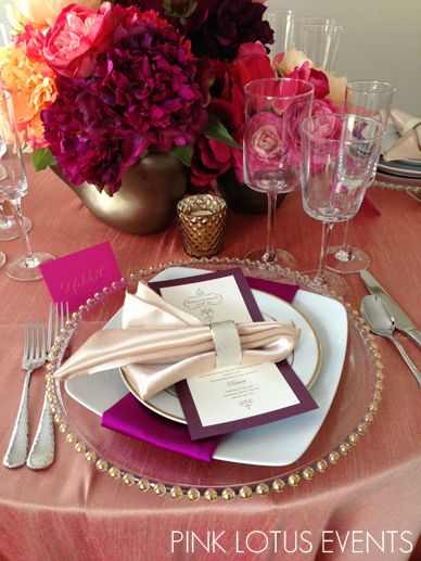Pink Purple Table Setting Gold Chargers Menu