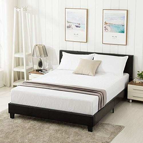 Mecor Queen Bed Frame Faux Leather Upholstered Bonded Platform Bed Panel Bed With Head Queen Bed Frame Queen Size Bed Frames Upholstered Headboards Bedroom