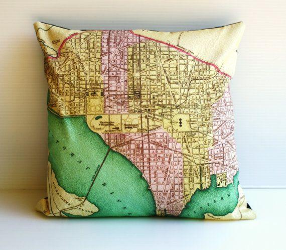 16 inch pillow WASHINGTON DC city map cushion by mybeardedpigeon, $55.00