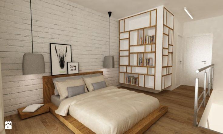 sypialnie nowoczesne - Średnia sypialnia małżeńska na antresoli, styl nowoczesny - zdjęcie od Grafika i Projekt architektura wnętrz