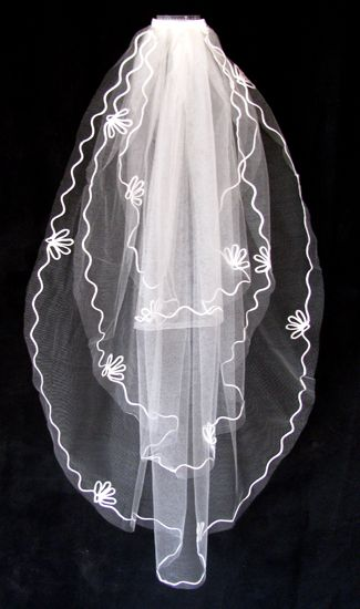 Νυφικό Πέπλο σε Λευκό ή Ιβουάρ, 3 Στρώματα Πέπλο για Νύφη, με Σατέν Απλικέ Άκρες, Μάκρος Μέχρι το Μηρό - www.memoirs.gr