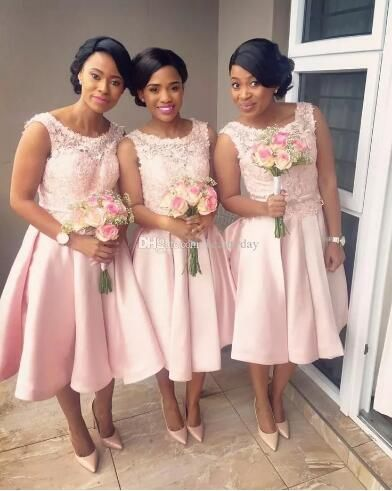 2018 Nigeria African Bridesmaid Dresses Tea-length Pink Lace Satin A-line  Scoop Maid Of Honor Wedding Party Guest Gowns Plus Size b20bca278b97