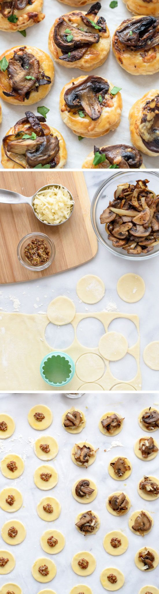 Cheesy mushroom puff pastry bites click for 20 easy for Easy christmas appetizers finger foods