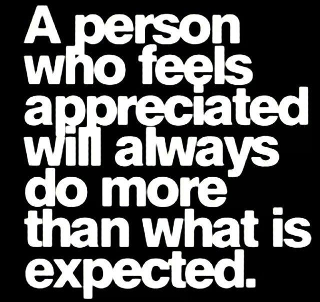 Appreciation exceeds expectation