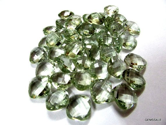 12mm Mint Green AMETHYST Cushion Briolette Faceted by GEMSSALE