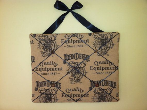 Items Similar To John Deere Burlap Memory/Memo Board On Etsy