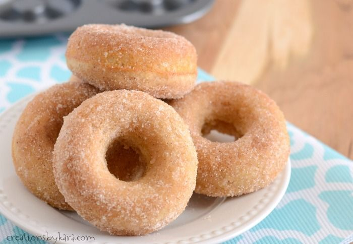 Recipe for melt in your mouth Baked Cinnamon Sugar Donuts. So easy, and oh so good!