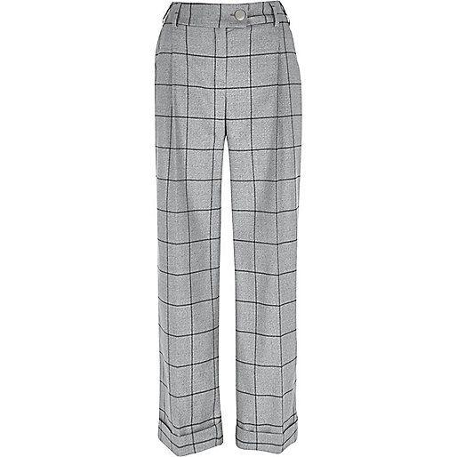 Grey check wide leg trousers