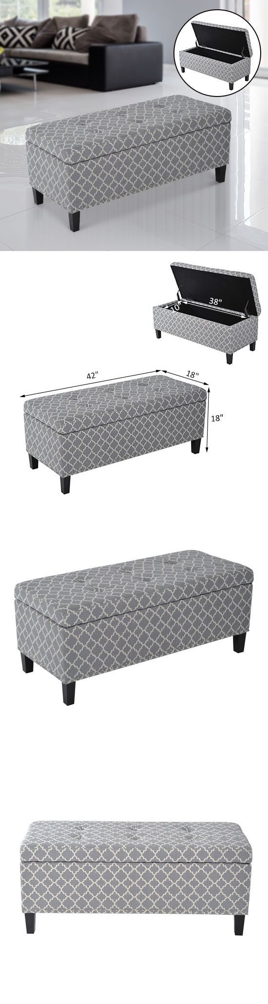 Ottomans Footstools and Poufs 20490: Storage Bench Ottoman Furniture Grey Footstool Organizer Elegant Seat Box Fabric -> BUY IT NOW ONLY: $99.99 on eBay!