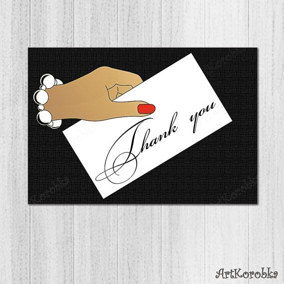 PRINTABLE Folded Thank You Card  Shower favor card  by Artkorobka