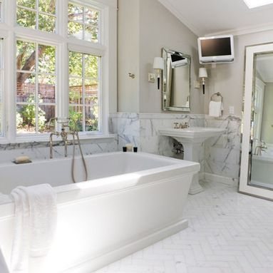Honed 2x2 Carrera Hex Bath Floor Design Different Marble Patterns look better with borders and baseboards separating the patterns
