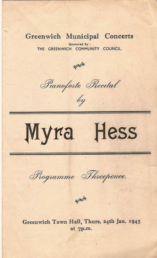 1945 Myra Hess piano Howard Ferguson Greenwich WW2 wartime concert programme