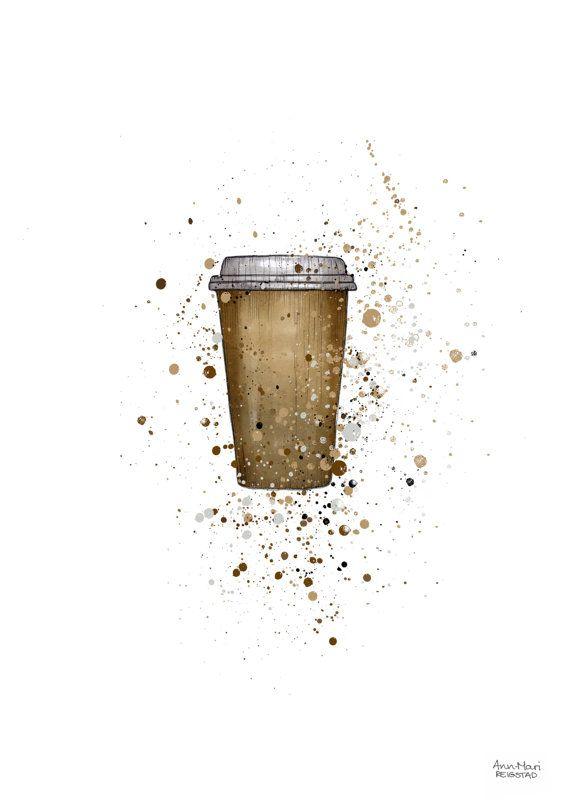 Kitchen art coffee illustration coffee home by annmarireigstad