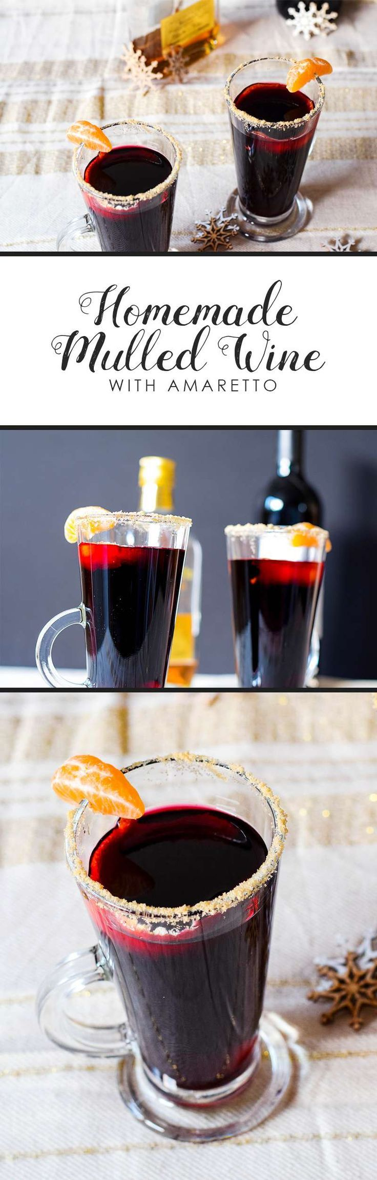 """Levelled up, extra tasty, extra """"oh go on then"""" homemade mulled wine with amaretto. Just use vegan-friendly red wine, or by it pre-mixed and skip some steps!"""
