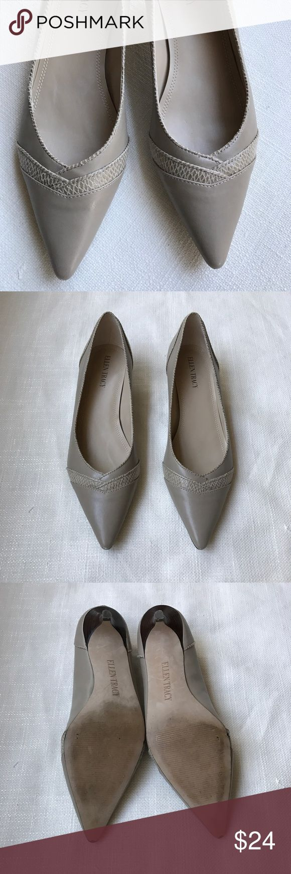 Ellen Tracy low heel pumps Nice Ellen Tracy taupe pumps with very low heel. Good used condition. Minor wear on bottoms. Comfortable and really great for work. Ellen Tracy Shoes Heels