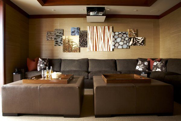 Get Contemporary Home Theater Design for Your Family: Amazing Modern Home Theater Designs Feats Double Square Tables With Rustic Walls ~ workdon.com Entertainment Room Inspiration