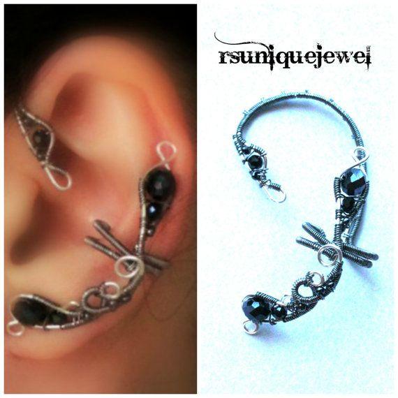 Oaak Wire Wrapped Black Crystal Ear Cuff Earcuff By Rsuniquejewel 20 00 U30ab U30d5 U30b9 Elf Template Spider Cuffs