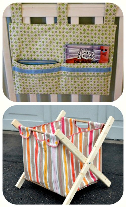 Crib Toy/Book Holder Tutorial ~ Here is a quick tutorial for a little hangy thingy for your child's crib…fill it with books, toys, or binkies to keep them happy after naps. (or before…) 52. DIY Laundry Hamper {Tutorial} ~ Check out this super fabulous laundry hamper. It's cute enough you may actually look forward to doing laundry. OK, probably not, but still! It folds up and the liner is removable