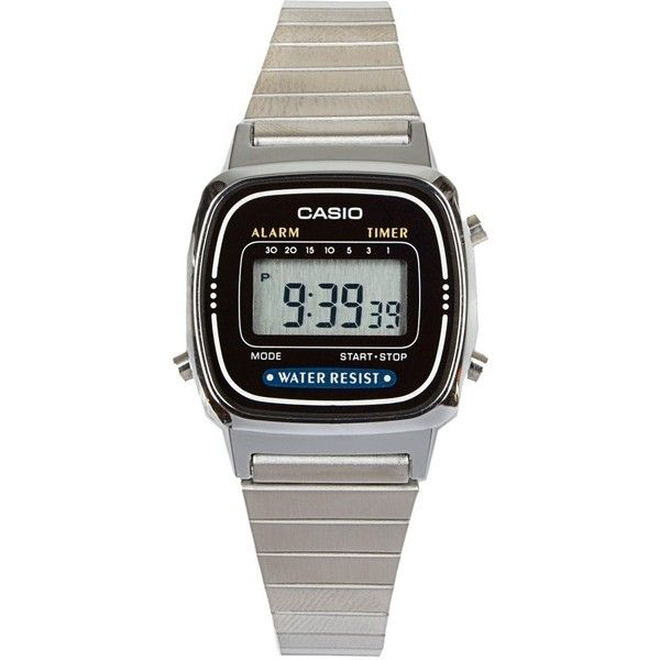 American Apparel LA670WA-1 Casio Silver Stainless Steel Daily Alarm... ($35) ❤ liked on Polyvore featuring jewelry, watches, accessories, fillers, silver, stainless steel jewellery, silver watches, stainless steel wrist watch, stainless steel digital watch and american apparel