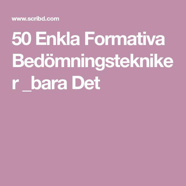 50 Enkla Formativa Bedömningstekniker _bara Det