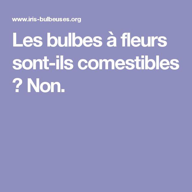 Les bulbes à fleurs sont-ils comestibles ? Non.