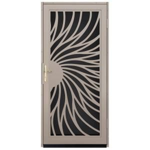 Unique Home Designs 36 In. X 80 In. Solstice Tan Surface Mount Steel  Security Door With Black Perforated Screen And Brass Hardware, Powder Coat  Tan