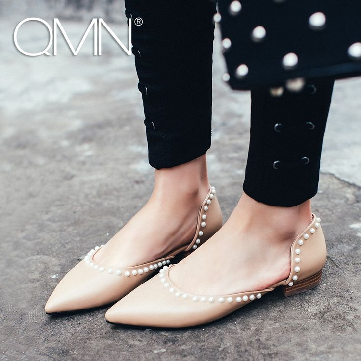 49.99$  Buy now - QMN women genuine leather flats Women Faux Pearl Embellished D'orsay Flats Slip On Summer Leisure Shoes Woman Flats 34-43  #buychinaproducts
