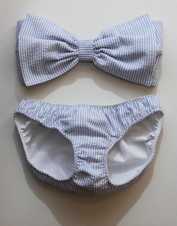 Seersucker bow bandeau set  Made to order by amourouse on Etsy, $125.00
