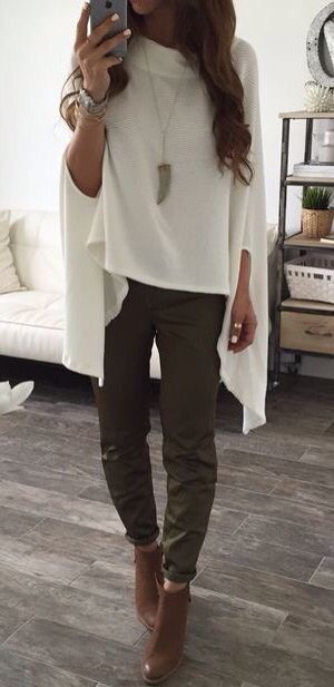 White slouchy top & olive pants.