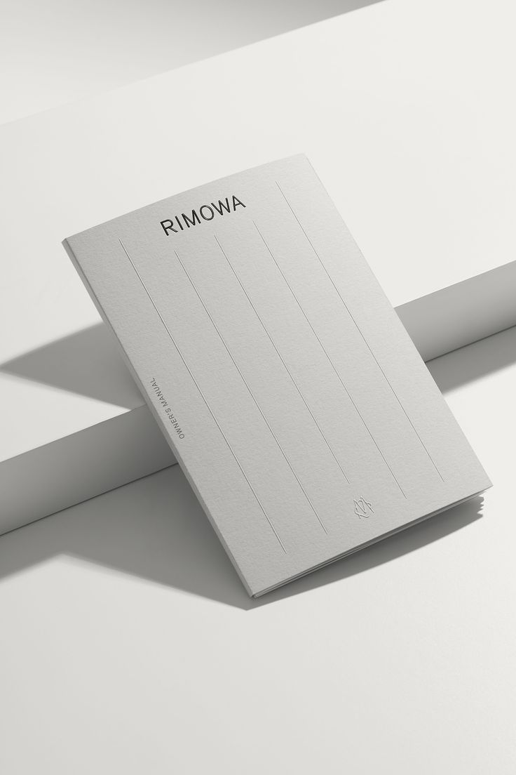 Monogram, type style, pattern and packaging by designed by Commission studio for functional luxury luggage manufacturer Rimowa