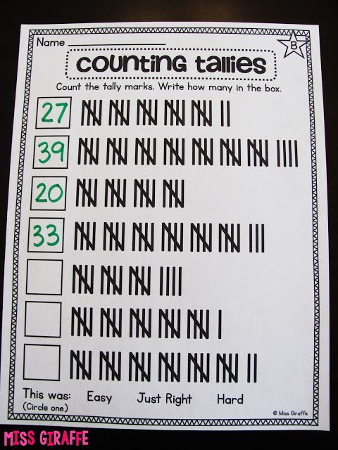 Counting tallies worksheets to practice counting by 5 with sets of tally marks