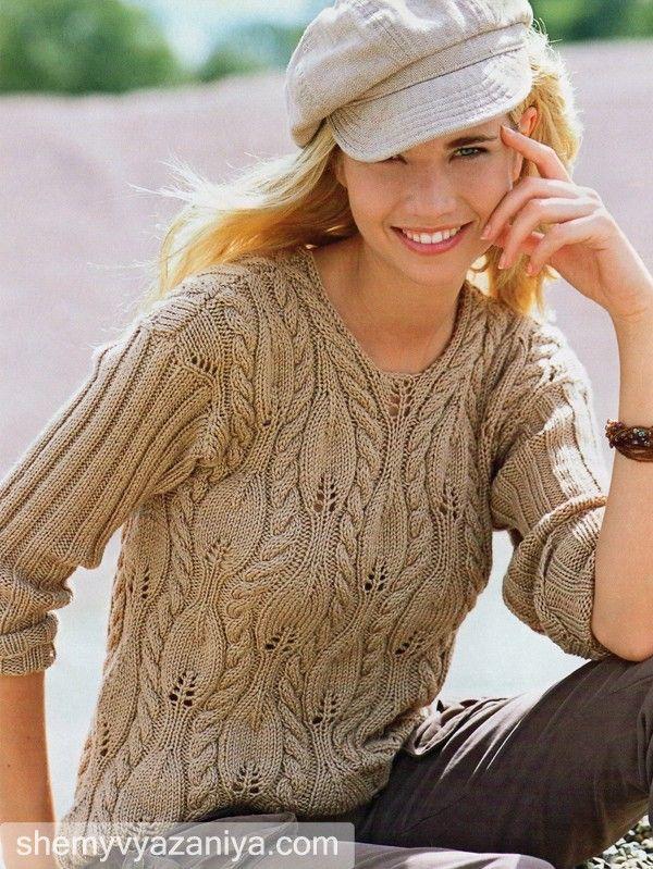 Пуловер с рельефными листочками