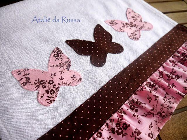 Pano de prato com borboletas   Dish towel with butterflies   Кухонное полотенце с бабочками