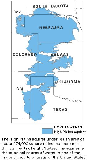 high plains aquifer underlies an area of about sq mils through 8 states it is the principal source of water in one of the major agricultural areas of the