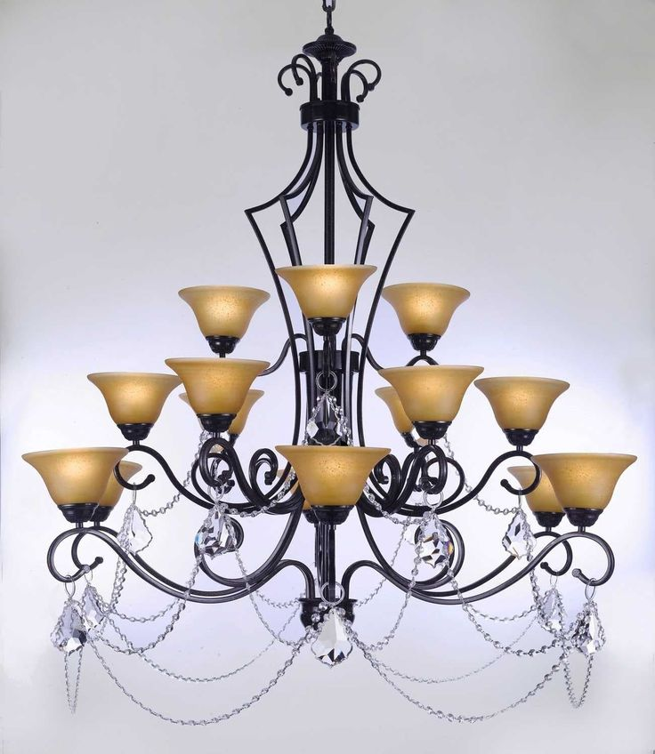Wrought Iron Chandelier Lighting With Crystal H51 x W49 Perfect for Entryway/Foyer, Black