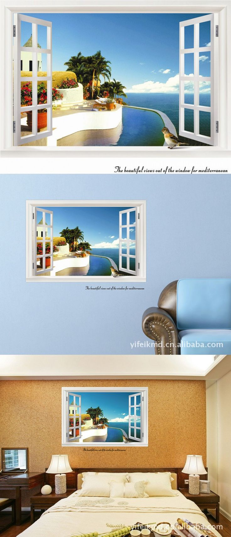 Mediterranean Landscape Summer Seaside Fake Window Wall Sticker Creative Home Decoration Wall Paper 60*90cm Free Shipping $6