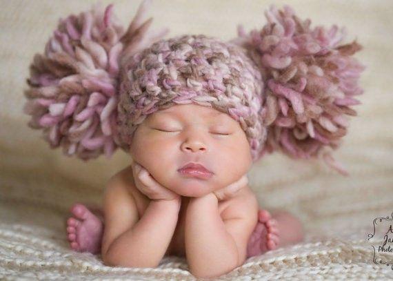 Chunky Pink Cream Ivory Off White Beige Brown Crochet Knit Newborn Infant Baby Girl Double Pom Pom Beanie Hat indigolia